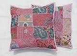 Kissenbezüge, Bestickt, Pailletten, Patchwork, indisches Sari, 40,6 cm, Babyrosa, 2 Stück