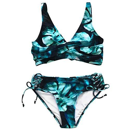 XUANYA Bañador Negro y Verde Twist Lace-Up Conjuntos de Bikini Mujeres Retorcer Dos Piezas Trajes de baño Trajes de Baño Playa Chica,XL