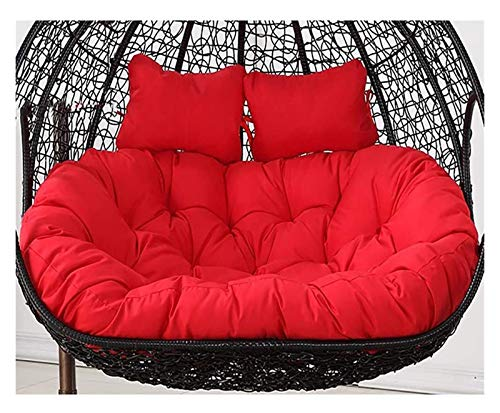 BDBT Swing Chair Cushion Waterproof Double Papasan Chair Cushion with Pillow, Large Thicken Hanging Egg Hammock Chair Cushion Patio Swing Chair Cushion (Color : Red)