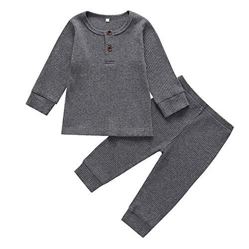 FeiliandaJJ Baby Schlafanzug Langarm Weich Komfortabel Elastizität Pyjama Set Mädchen Jungen Herbst Winter Warm Zweiteiliger Schlafanzüge Nachtwäsche Kleidungs Set (Grau, 90 (12-18 Monate))