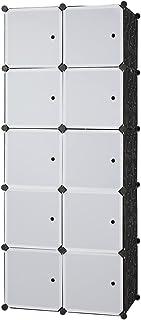 BANNESE 10 Cube Armoire Penderie Modulable Portable Meuble de Rangement Garde-Robe de Rangemen avec Portes et Tiges Suspen...