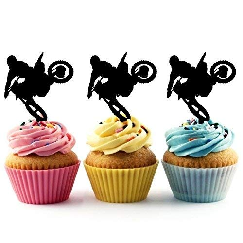 Extreme Motocross Racing Sport Silhouette Acrylic Cupcake Toppers 12 pcs