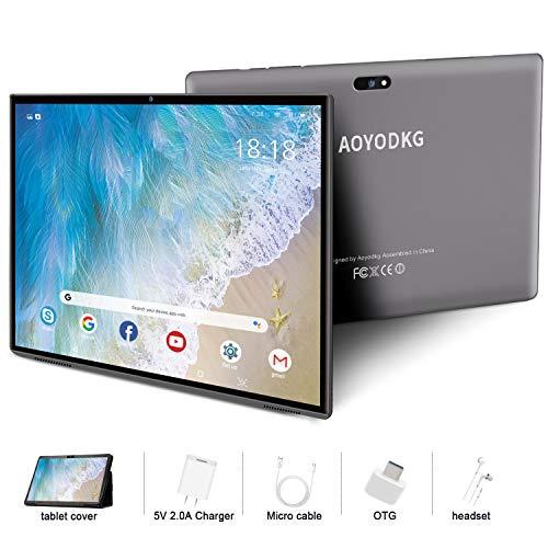 Tablet 10.1 Pulgadas 4G LTE Call ,Android 9.0 Google Certificación GMS Tablets,3Go RAM + 32/128Go ROM ,Quad Core,8000mAh Batterie,5MP +8MP, WiFi /GPS /OTG/ Bluetooth /Netfilix Tablet PC (Gris)