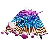 Profesional Set de Brochas de Maquillaje Cepillos de Maquillaje para las Facial y Cejas y Labios por Set de brochas para maquillaje - 20 brochas (Azul)
