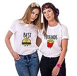 Daisy for U Best Friends T-Shirt für 2 Mädchen mit Aufdruck Burger und Pommes Lustige Passende Kurzarm Damen von Weiß Hamburger S-1 Stücke, S, Weiß - Hamburger
