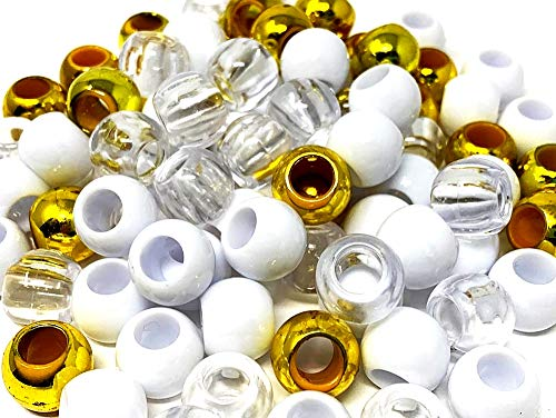 Tara Assorted Color Design 150 Pieces Plastic Beads 12x14 mm For Braid Hair For Girls (GOLD CLEAR WHITE)