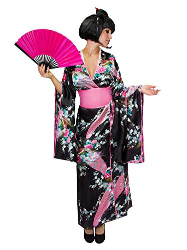KULTFAKTOR GmbH Japanerin Damenkostüm Kimono schwarz-rosa XS / S