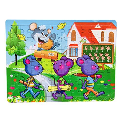 Longra 60-delige puzzel van hout, kinderen cartoon educatief spel intelligent puzzel speelgoed voor 1 2 3 jaar jongens meisjes
