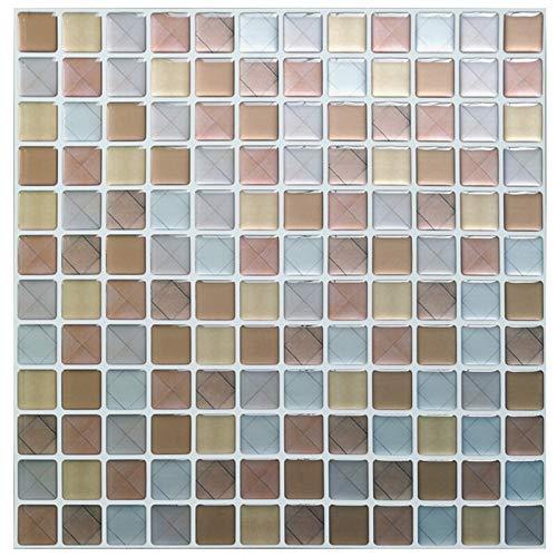kengbi Fácil de decorar papeles pintados de larga duración DIY autoadhesivo mosaico azulejos Backsplash adhesivo vinilo baño cocina decoración 3D (color: YJC0013, dimensiones: 23,6 x 23,6 cm)