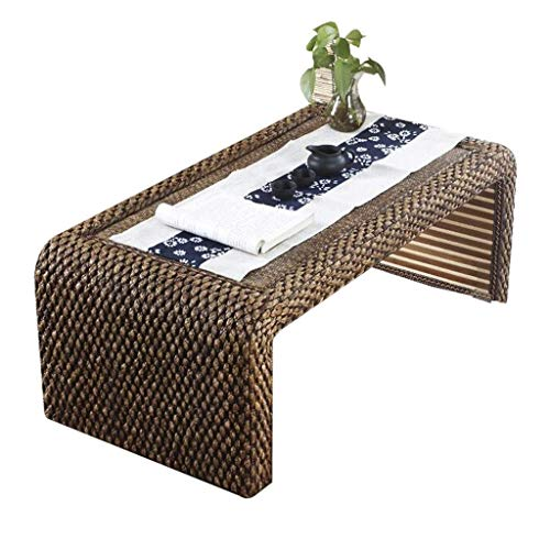 PAKUES-QO Coffee Tables Table tea table hand-woven meditation low table bedroom bay window table (Color : Brown, Size : 60 * 45 * 30CM)