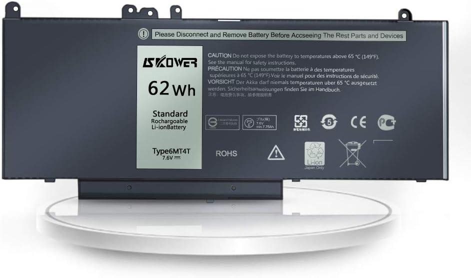 SKOWER 6MT4T Laptop Battery for Dell Latitude E5470 E5570 Precision 3510 Replacement 7V69Y 07V69Y TXF9M 79VRK 7.6V 62Wh