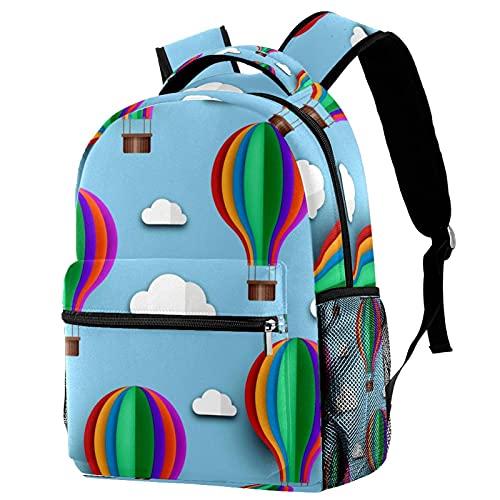Mochila de viaje de ocio para campus de viaje, bolsas de globo de aire caliente con soporte para botellas para niñas y niños