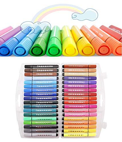 Eastor - Pennarelli per bambini, lavabili ad acquerello, 36 colori assortiti, punta in feltro con punta in fibra di colore con portafoglio, per adulti e bambini