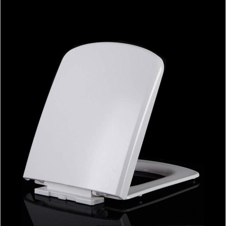 WC-Sitz WC-Sitz mit verdicktem Soft-Close-Scharnier Oben montierter Ultra-Bestendiger PP-Board-WC-Sitz für quadratischen WC-Sitz Antibakterieller Toilettensitz (Farbe   Weiß, Größe   4345.5  36)
