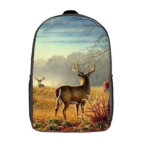 Travel Laptop Backpack for Boys Girls Ideal for Hunting Hiking Cool Ancient Tractor and Cute Deer Pattern Comfortable 17 Inch Campus Backpack