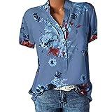 Alaso Femme Chemisier Floral Imprimer, Pas Cher Plus Size Mousseline de Soie Manches Courtes Chemise Tops T-Shirt Eté Col V Hauts Blouse Chic Tee Shirt,S-5XL