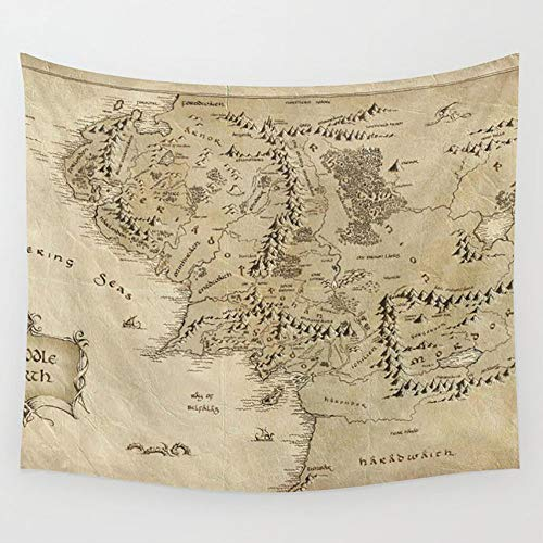 N/A Tapestry Wall Hanging, Wall Tapestry with Art Nature Home Decorations for Living Room Bedroom Dorm Decor (Lord Of The Ring Map, 150x130cm)