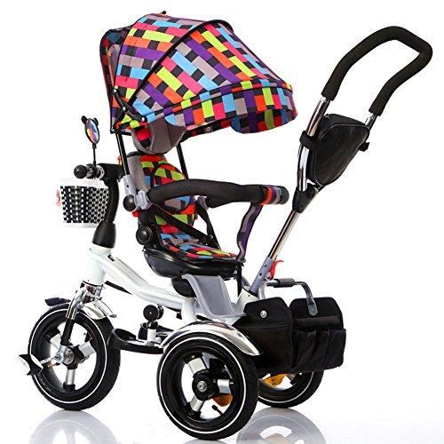 Vélo Guo Shop- Bicyclette pour Enfants Tricycle 1-3-6 Ans Enfants Pliant 3-Mousse-Roue bébé Poussette Rotatif siège (Couleur : Color 3)