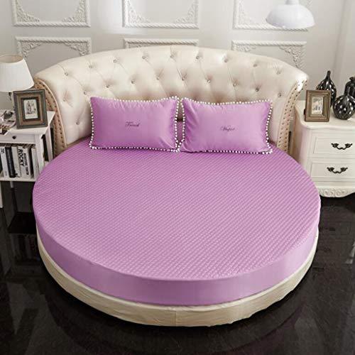 Cjwdxxnh Sábanas Ajustables de Lujo de algodón de Seda púrpura Funda de Cama Decorativa con sábana Redonda Inferior Ajustada Suave