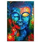 ZMK-720 Pintura al óleo Pinturas abstractas Lienzos Buda En La Pared Pósteres Budismo Colorido y Estampados Modernos Cuadros Cuadros for la Sala (Color : No Frame, Size (Inch) : 50x75cm no Frame)