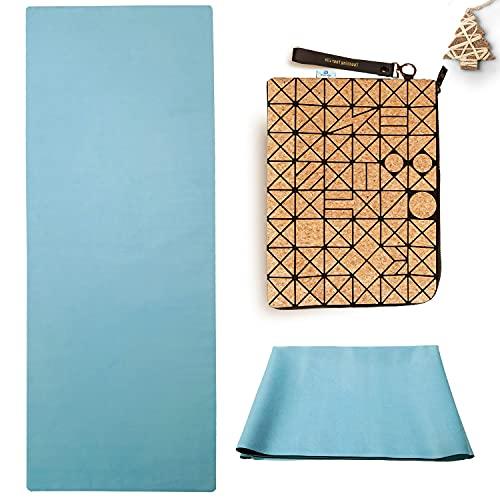 Esterilla de yoga plegable, antideslizante, 1,5 mm, fina, ligera, ecológica y de viaje, de caucho natural, lavable con bolsa de transporte, de corcho, Hot Yoga Bikram Pilates, color azul claro