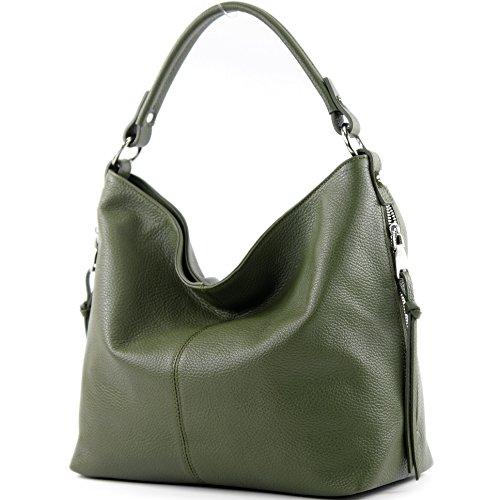 modamoda de Damen Schultertasche, Leder T160, Farbe:Olivgrün