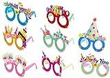 YKKJ 8 Pack Occhiali per Feste di Compleanno ,Montature per Occhiali da Festa,Occhiali da Vista in Carta per Feste novità Occhiali per Grandi e piccini, Regali Colorati Multicolori