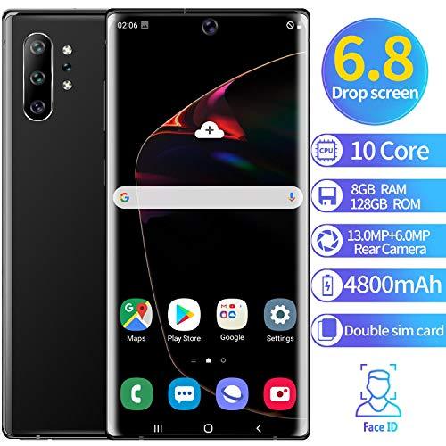 XGLL Teléfono Móvil 6.5 Pulgadas FHD 10 Core 8GB RAM + 128GB ROM Android 9.1 4800Mah Batería Dual SIM Moviles Libres Indestructibles Smartphone,Negro