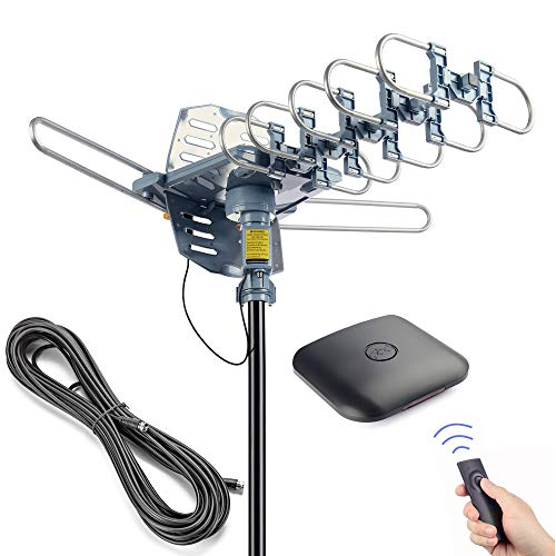 Pingbingding Antenne TV numérique HD pour extérieur avec Rotation à 360 degrés motorisée avec câble coaxial RG6 de 60 m – UHF/VHF / 1080P / 4K Installation à 2 Voies