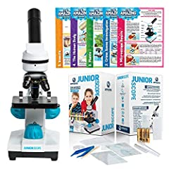 UNLIKE CHEAPER IMITATIONS WITH blurry plastic lenses, the JuniorScope microscope for kids features PREMIUM-GRADE GLASS objective lenses that let you see in CRYSTAL CLEAR DETAIL. Zoom in with clarity with three magnification levels, including 40x, 100...