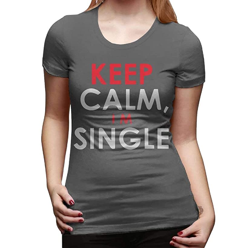 large-scale Cotyou-6 Women's Short Sleeve Round Neck Tshirts Keep Calm I'm Single Casual Blouse