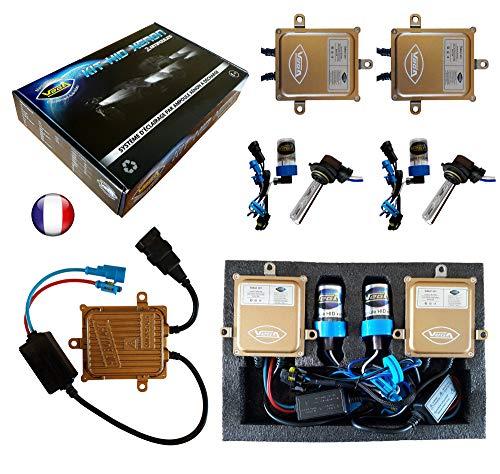 VEGA Kit HID Xénon Marque Francaise HB3 9005 8000K 55W Slim DSP AC Ampoules à embase coudée