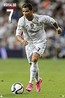 Real Madrid - Sports Poster/Print (Cristiano Ronaldo #7 Charging) (Size: 24 inches x 36 inches)