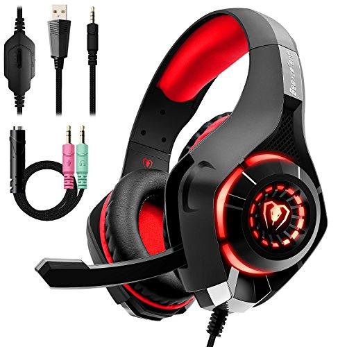 【Amazon.co.jp 限定】ゲーミングヘッドセット PS4 Beexcellent ヘッドセットPC ゲーム用ヘッドホン 集音性マイク付 3.5mmコネクタ 軽量 耐久(レッド)