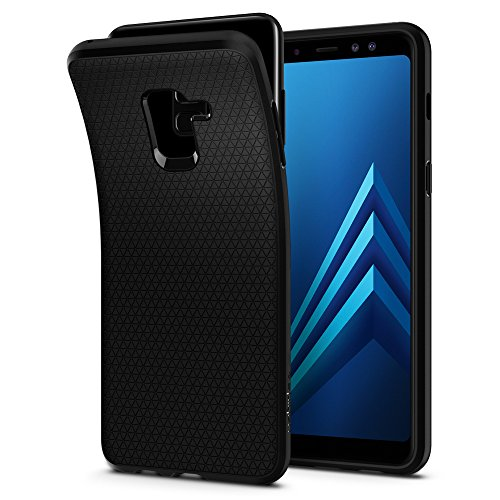 Spigen 590CS22747 Liquid Air für Samsung Galaxy A8 2018 Hülle Soft Flex Silikon TPU Schutzhülle Hülle - Schwarz