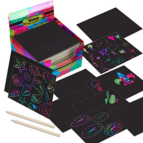 Scratch Paper Mini Art Notes 200 Sheets with 2 Stylus Pen, Rainbow...