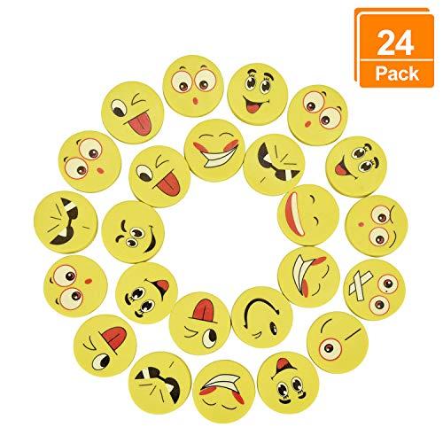 Willingood 24 x Emoji Smiley Radiergummi Set für Kinder | Mitgebsel | Kindergeburstagen | Gastgeschenke als Geburtstagsgeschenk und bunte lustige Radiergummi,Smiley Spielzeug und verschiedene motive