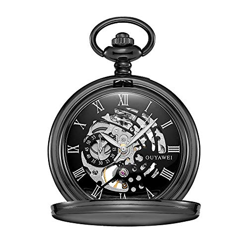 WFDA Reloj de Bolsillo con la Cadena El Reloj mecánico de Cuerda Manual a Prueba de Agua en Perspectiva Inferior de la Cubierta Reloj de Bolsillo mecánico de los Hombres Retros