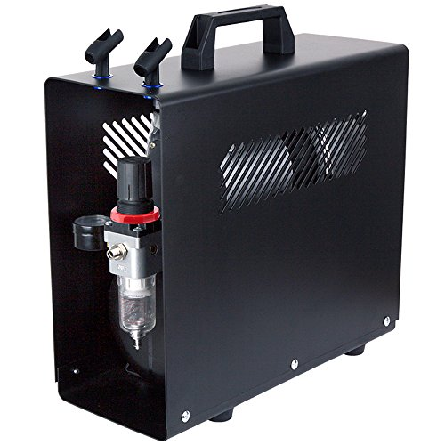 Fengda AS-196A Luxe Airbrush mini-compressor met luchttank/drukvat/6 bar/Auto Stop