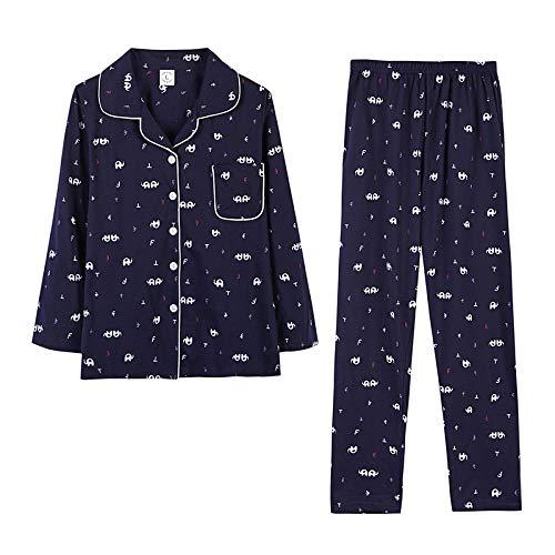 DFDLNL Pijamas Azul Marino Primavera Otoño de Manga Larga de algodón para Mujer Ropa para el hogar Pijamas Casuales Tops + Pantalones Conjuntos Ropa de Dormir XXXL