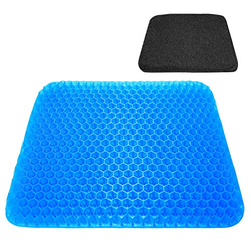 Gel seat cushon with Black Non-Slip Cover,Breathable Honeycomb Design seat Cushion for Office Chair,car,Wheelchair for Pressure Relief Back Tailbone Pain and Butt Pain deep Blue