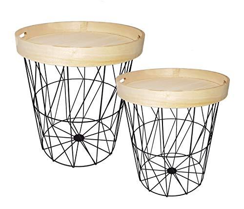 Preisvergleich Produktbild Beistelltisch 2er Set mit abnehmbarem Tablett - 40 + 37 cm - Designer Couchtisch rund Sofatisch Metall Tisch