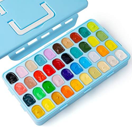 Gouache Paints, 40 Color Gouache Paint Set, Jelly Gouache Opaque, Vivid, Smooth Gel Watercolor Paint Set with Portable Case, Easy Paint Kit for Beginner, Hobbist, Artist 30ml/cup