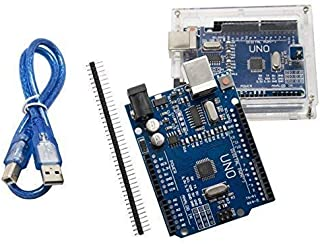 UNO R3 Plus Acrylic Case ATmega328P CH340 - ALLUS U6011 UNO Board with Transparent Acrylic Case and USB Cable Compatible with Arduino UNO R3