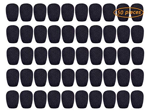 GCOA 80 Piezas Auriculares Micrófono Parabrisas - Cubierta de espuma para micrófono para solapa, lavalier y micrófonos, tamaño mini, negro