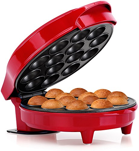 Holstein Housewares Fun Cake Pop Maker, Makes 14, Red