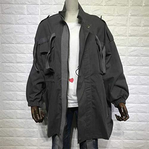 NSWTKL jeansjas herfst winter bedrukt dames military jack losse trekkoord windbreaker mantel lange grote leger groen jassen dames