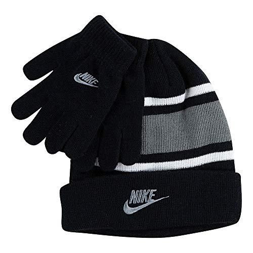 Nike Boy`s Futura Foldover Beanie & Glove 2 Piece Set (Black(9A2837-KG7)/Grey, 8-20)