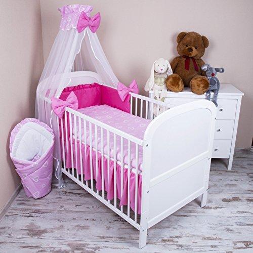Amilian Baby Bettwäsche 5tlg Bettset mit Nestchen Kinderbettwäsche Himmel 100x135cm Herzen Rosa Chiffonhimmel