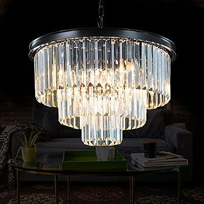 "Meelighting 24 Lights Empress Crystal Chandelier Lighting Modern Contemporary Chandeliers Pendant Ceiling Lamp Lights Fixture 7-Tier for Dining Room Living Room Hotel Showroom W39.4"""
